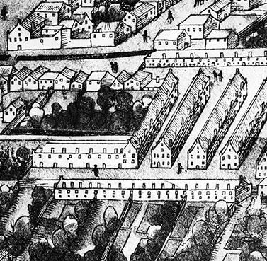 Die Fuggerei in un'incisione del 1521