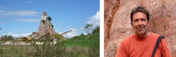 Uno scorcio del Monticchio oggi, sito mai bonificato dopo lo sfruttamento della cava e Giancarlo Bovina